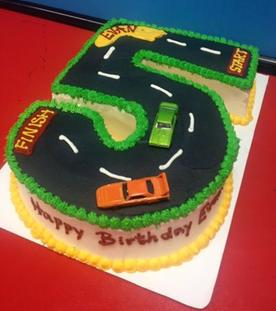Shaped Number 5 Car Cake