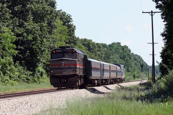 A Wolverine train west of Kalamazoo in 2009. In 2012, speeds in this area were increased to 110 miles per hour.