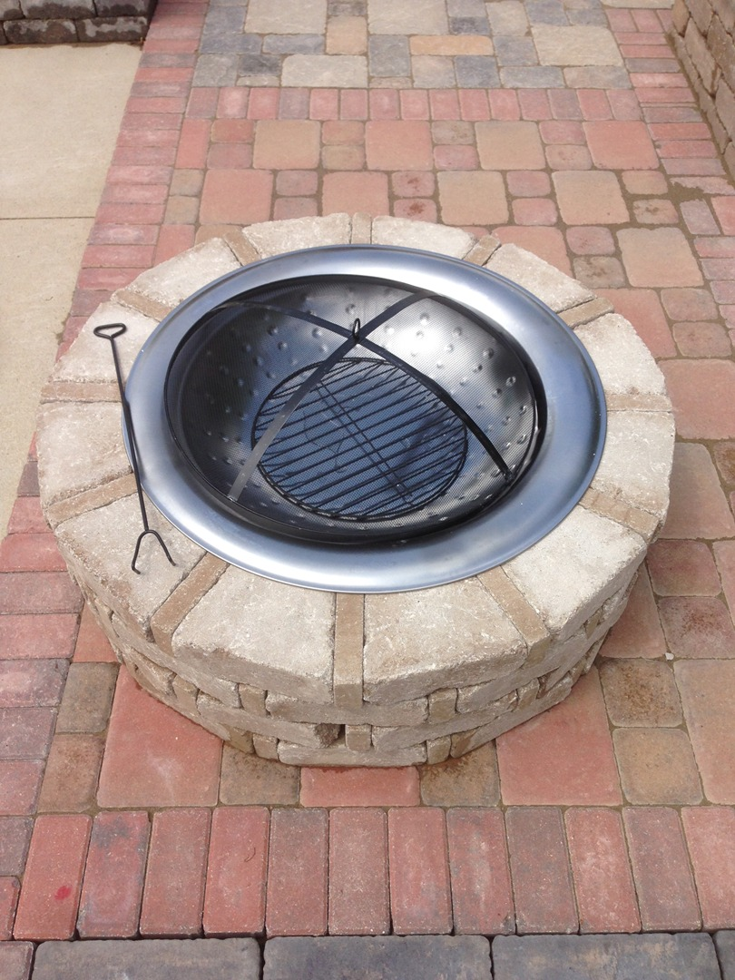 Round Rumble Stone Fire Pit. Stainless Steel insert not shown. Top View:  Stainless Insert - Fire Pits