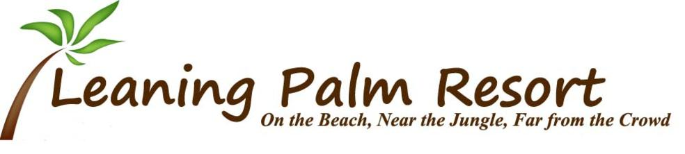 Leaning Palm Resort's Logo is a palm tree. Book your Belize Vacation Today.