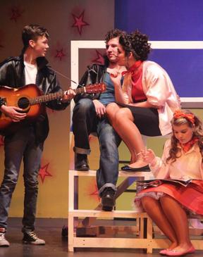 Doodie (Harrison Smith), Danny (Lewis Mitchell), Rizzo (Megan Postle) and Frenchy (Josie Ash)