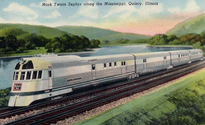 Mark Twain Zephyr postcard