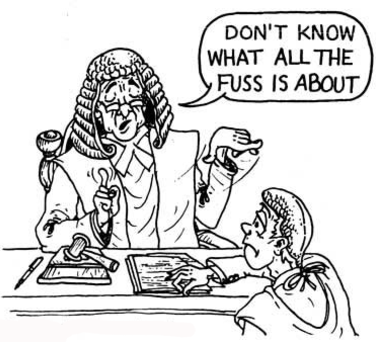 cartoon illustration from a book How to Pass Law Exams by Peter D Fraser