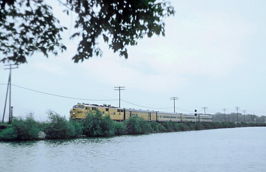 MILW 18A, an EMD E7A with Train 17, The Varsity, crossing Lake Monona, Madson, Wisc. on August 6, 1967. Photo by Roger Puta.