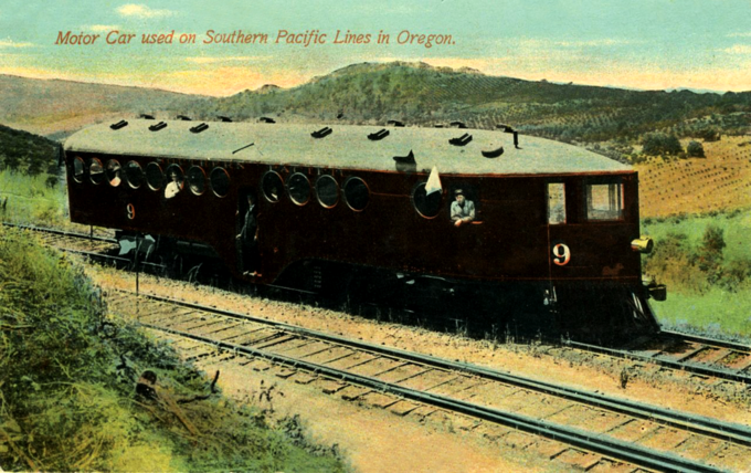 A McKeen Motor Car used on Southern Pacific lines in Oregon.