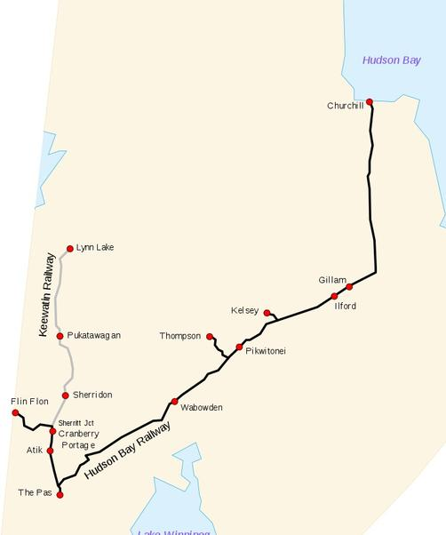 Route Map of the Hudson Bay Railway. HBRY in black and KR in grey.