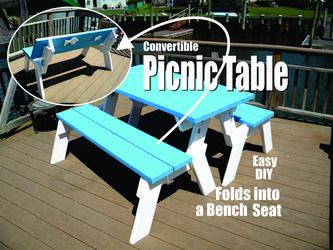 DIY Picnic table that folds into bench seats