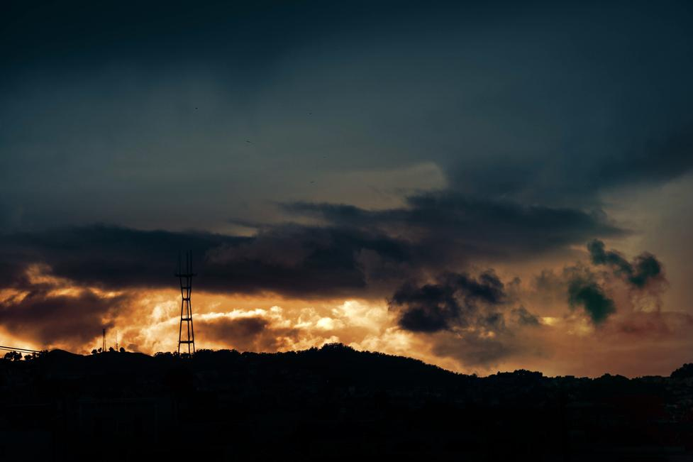 storm sunset over the bay area san francisco sutro tower