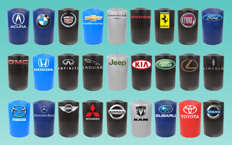 Automotive logos are available for any color light pole base cover.
