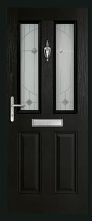 2 panel 2 square rebate composite door in black