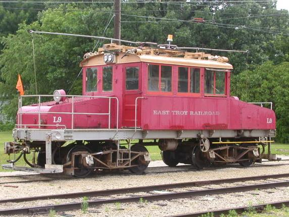East Troy Electric Railroad L9, formerly Milwaukee Electric Railway & Transport Company L9, outside the East Troy barn on July 8, 2003. Photo by Frank Hicks.