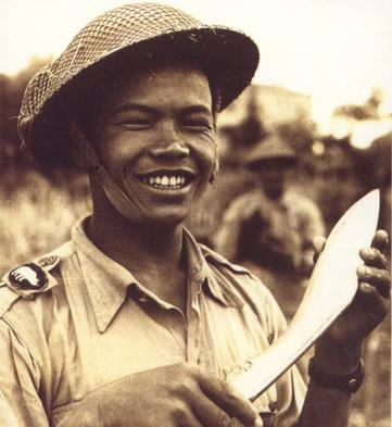 Gurkha with kukri taken in Italy in 1945
