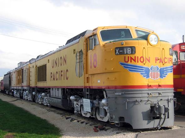 Union Pacific Gas turbine-electric locomotive No. 18 at the Illinois Railway Museum.
