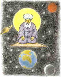 Sufi on prayer mat in spiritual space