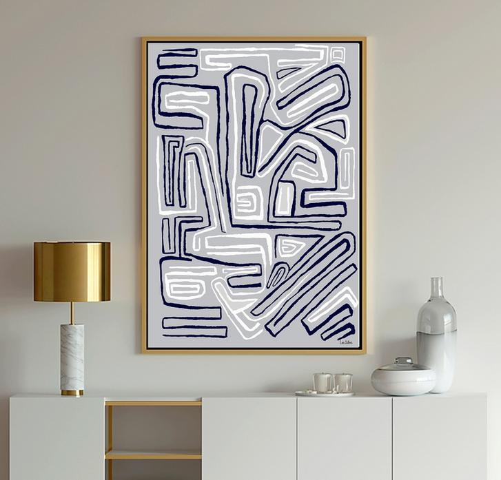 Gray and white geometric abstract art painting print