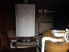 A swimming pool boiler and heat exchanger in brentwood