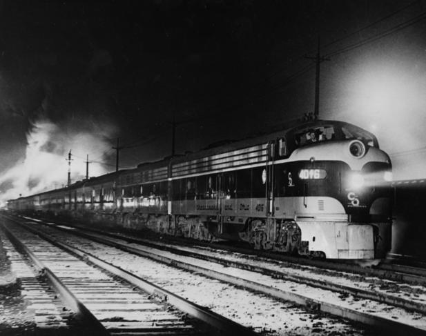 The George Washington, train No. 2, eastbound, leaving Huntington, West Virginia.