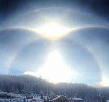 Ice halo by Joshua Thomas in Red River, New Mexico on the morning of January 9, 2015.