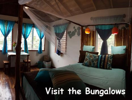 A queen sized bed sits in the Driftwood Bungalow at Leaning Palm Resort. The room is furnished with hand made furniture crafted from logs that have washed ashore on our beach. Book your Belize Beach Vacation Today!