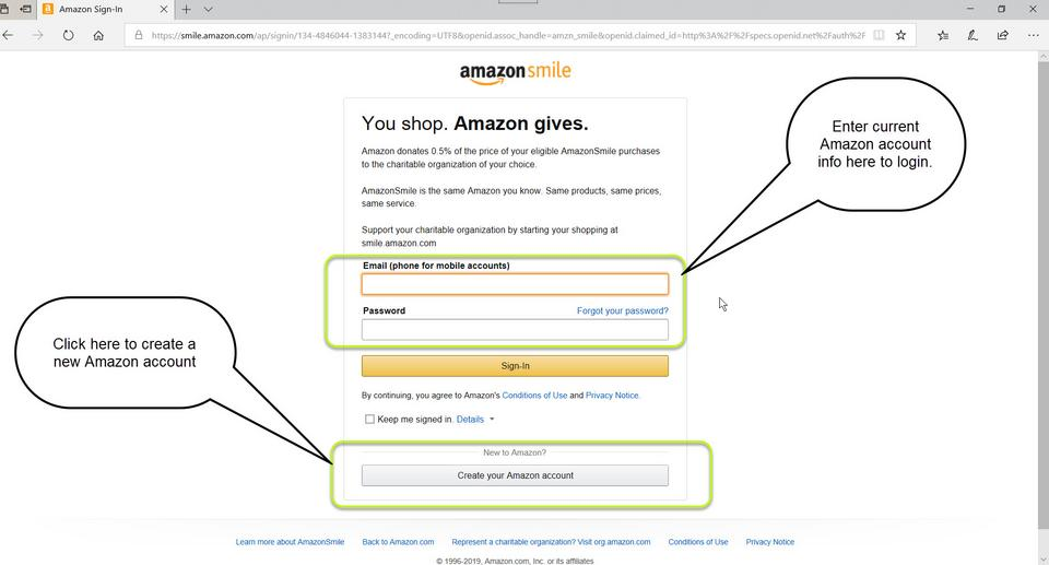 amazon smile account login