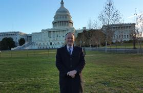 Craig Lawrence in front of Capitol Hill in Washington