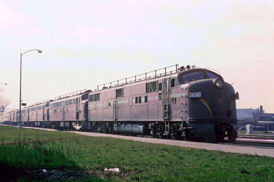 Pennsylvania Railroad EMD E7A No. 5880 with the General, Englewood Union Station, Chicago, IL on April 21, 1965. Photo by Roger Puta.