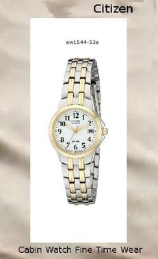 Watch Information Brand, Seller, or Collection Name Citizen Model number EW1544-53A Part Number EW1544-53A Model Year 2010 Item Shape Round Dial window material type Mineral Display Type Analog Clasp push-button-fold-over-clasp Metal stamp none Case material Two-tone stainless steel Case diameter 26 millimeters Case Thickness 9 millimeters Band Material Two-tone stainless steel Band length ladies-standard Band width 14 millimeters Band Color two-tone Dial color White Bezel material Two-tone stainless steel Bezel function Stationary Calendar Date Special features Water Resistant Movement Japanese quartz Water resistant depth 330 Feet,citizen watch