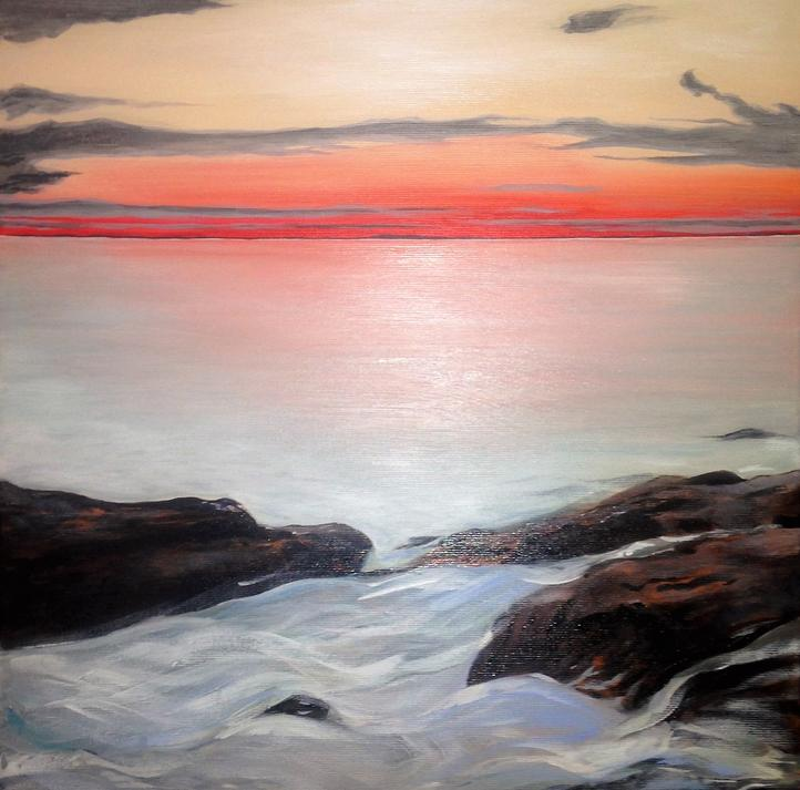 Red Glow. Private collection Arizona, USA. Original contemporary acrylic seascape painting by Irish artist Orfhlaith Egan. Orlainberlin Charlottenburg landscape painter