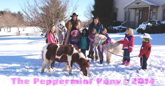 Winter Aspen Cowgirl party in front yard, with Peppermint Ponies
