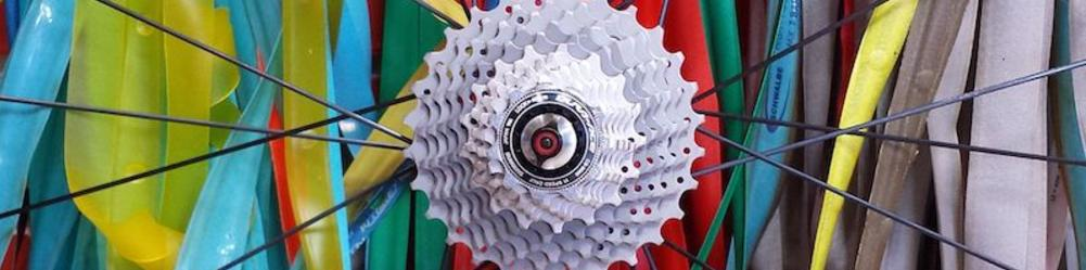 Bicycle wheel and cassette in front of colorful rim strips