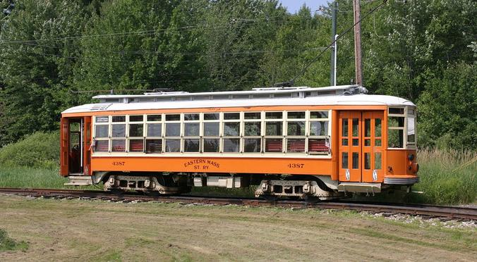Car No. 4387 of the Eastern Massachusetts Street Railway.