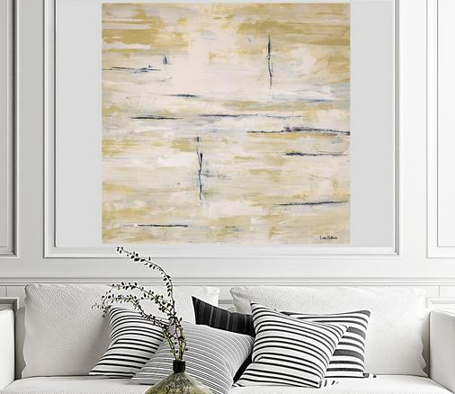 Abstract Art Beige and white Giant Art painting with navy blue lines by Dubois Art