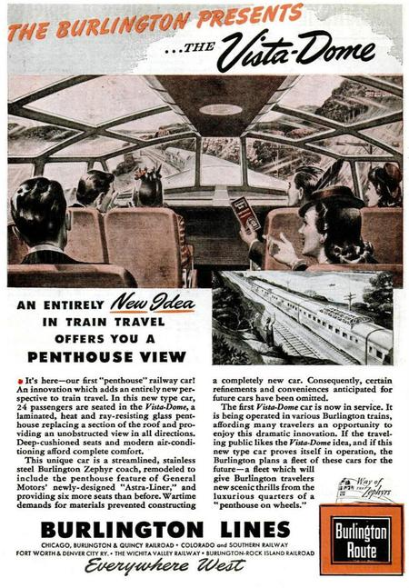 A 1945 advertisement announcing the first dome car.