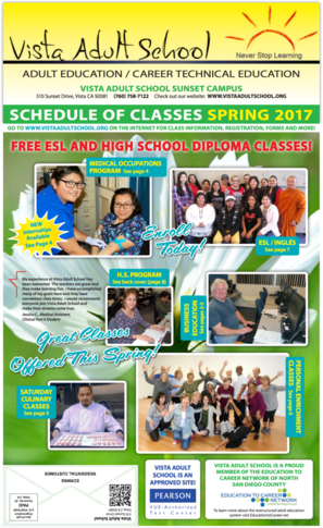Vista Adult School Spring Schedule