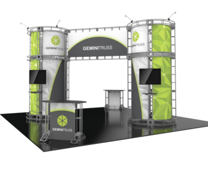 Gemini Orbital Express 20x20 modular trade show exhibit booth right side view.