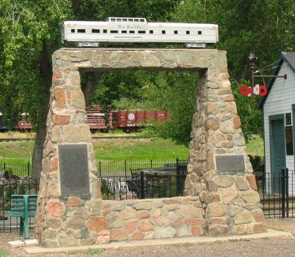The monument erected to commemorate construction of the first dome car. The monument originally stood in Glenwood Canyon, Colorado; it is seen here in its current location at the Colorado Railroad Museum in Golden.