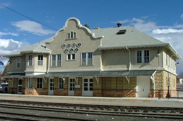 East Ely Depot, built in 1907 for the Nevada Northern Railway.