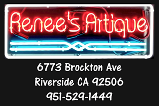 Renees Artique Neon Sign with address and phone number