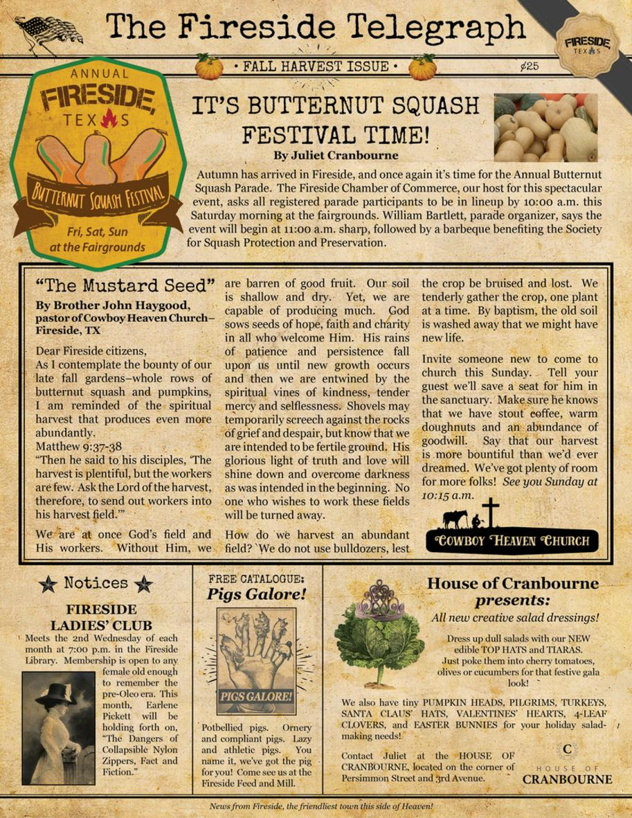 Fall 2002 issue of the Fireside Telegraph, a fictional newspaper