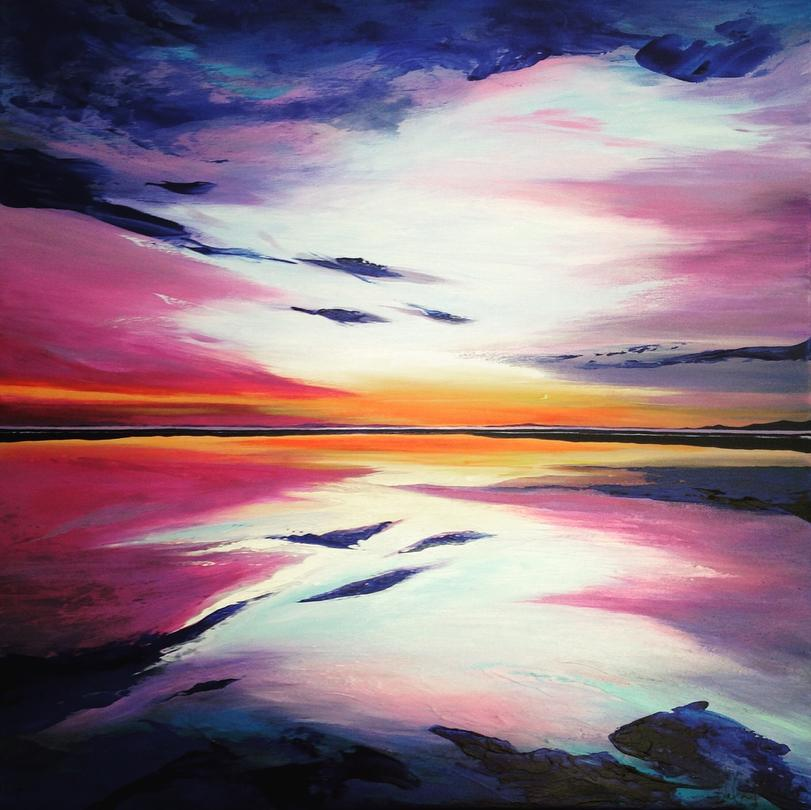 Summertime Sunset. Original contemporary acrylic abstract seascape painting by Irish artist Orfhlaith Egan. Private Collection Rosslare, Ireland. Orlainberlin Charlottenburg abstract landscape painter