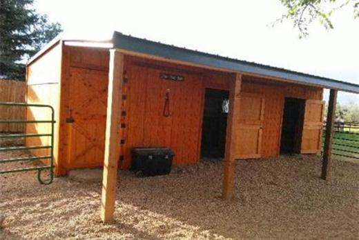 Row barn for horses, goats, Alpacas with Lean to and Dutch Doors