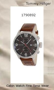 Watch Information Brand, Seller, or Collection Name Tommy Hilfiger Model number 1790892 Part Number 1790892 Item Shape Round Dial window material type Mineral Display Type Analog Clasp Buckle Metal stamp NA Case material Stainless Steel Case diameter 46 millimeters Case Thickness 13.5 millimeters Band Material Leather Calfskin Band length Mens-Standard Band width 22 millimeters Band Color Brown Dial color Brown Bezel material Stainless Steel Bezel function Stationary Calendar Day, date, and month Special features Dual Time Movement Quartz Water resistant depth 165 Feet