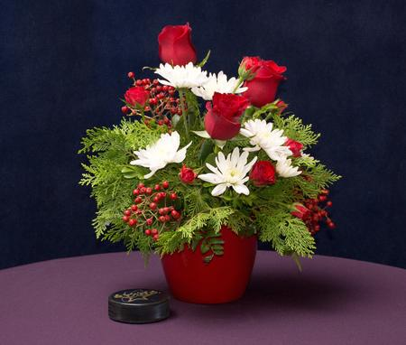 Bloom and Leaf Christmas Floral Arrangement