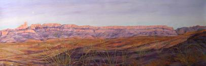 Moonrise, Big Bend, a large panoramic landscape painting by Texas artist Lindy Cook Severns was represented by Michael Duty Fine Art.
