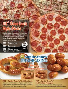 St Louis Style Pizza and Auntie Anne's Fundraiser Brochure
