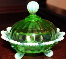 Mosser Glass Covered Candy Dish Emerald Opal