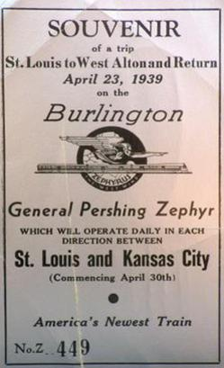 A ticket from the train's trial run between St. Louis and Alton, Illinois on April 23, 1939.