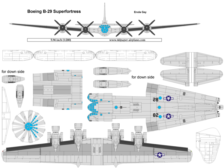 4D model template of Boeing B-29 Superfortress