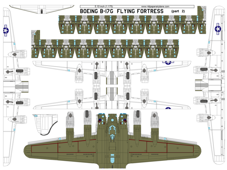 DIY 4D model template of Boeing B-17 Flying Fortress
