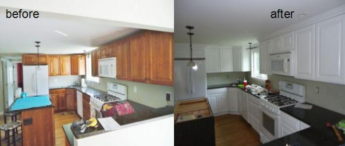before and after image of kitchen cabinet painting in Mansfield